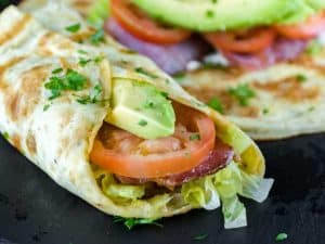 Low-Carb Keto Breakfast Burrito with Bacon and Avocado