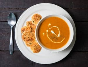Tomato Basil Bisque with Parmesan Crisps