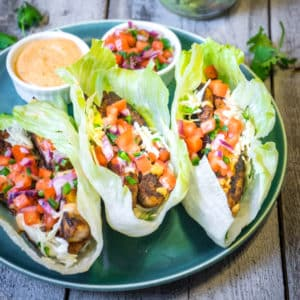 Blackened Mahi Lettuce Tacos with Cajun Remoulade