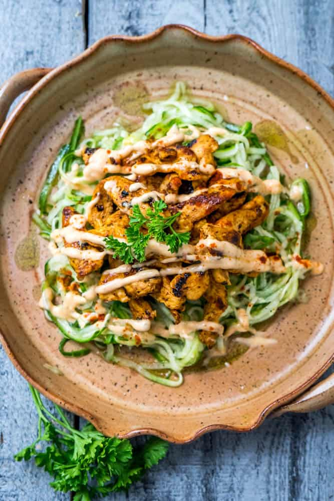 Cucumber Noodle Salad with BBQ Chicken | Living Chirpy