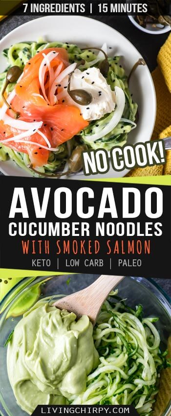 Pinterest Graphic Image for Creamy Avocado Cucumber Noodles with Smoked Salmon