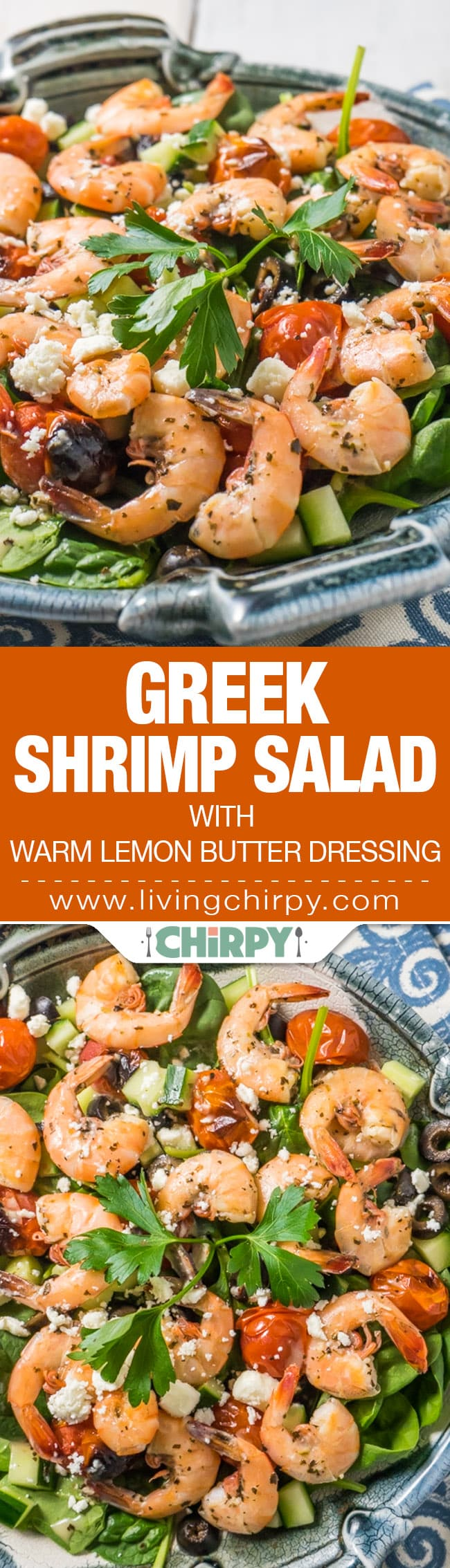 Greek Shrimp Salad with Warm Lemon Butter Dressing