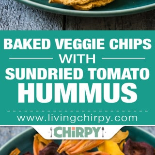 Baked Veggie Chips with Sundried Tomato Hummus