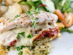 Mozzarella Pesto Sundried Tomato Stuffed Chicken – 5 Ingredients!