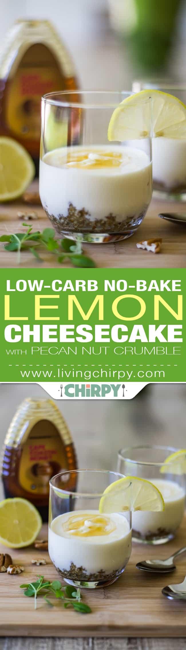Low carb no bake lemon cheesecake pin