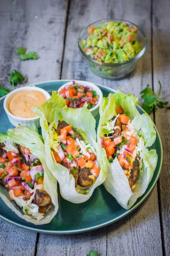 Blackened Mahi Lettuce Tacos with Cajun Remoulade