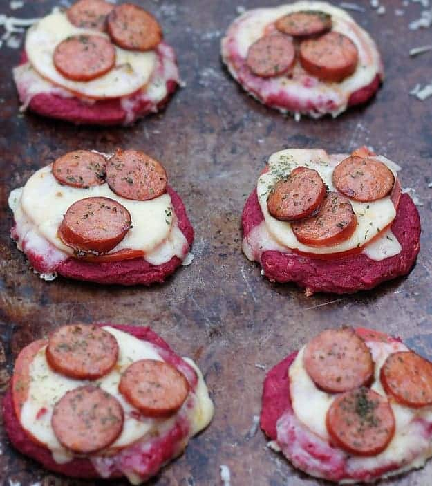 Mini Andouille & Pepper Jack Beet Pizzas