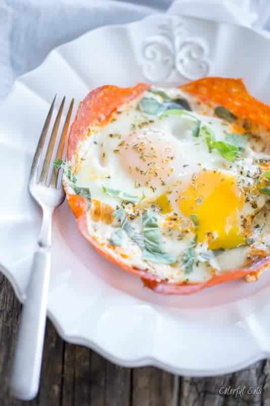Pepperoni Crusted Pizza Baked Egg Skillets