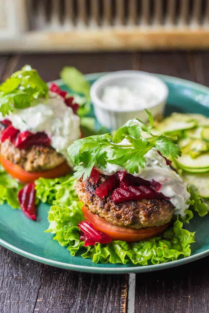 Bunless Moroccan Lamb Burger with Pickled Beets and Tzatziki