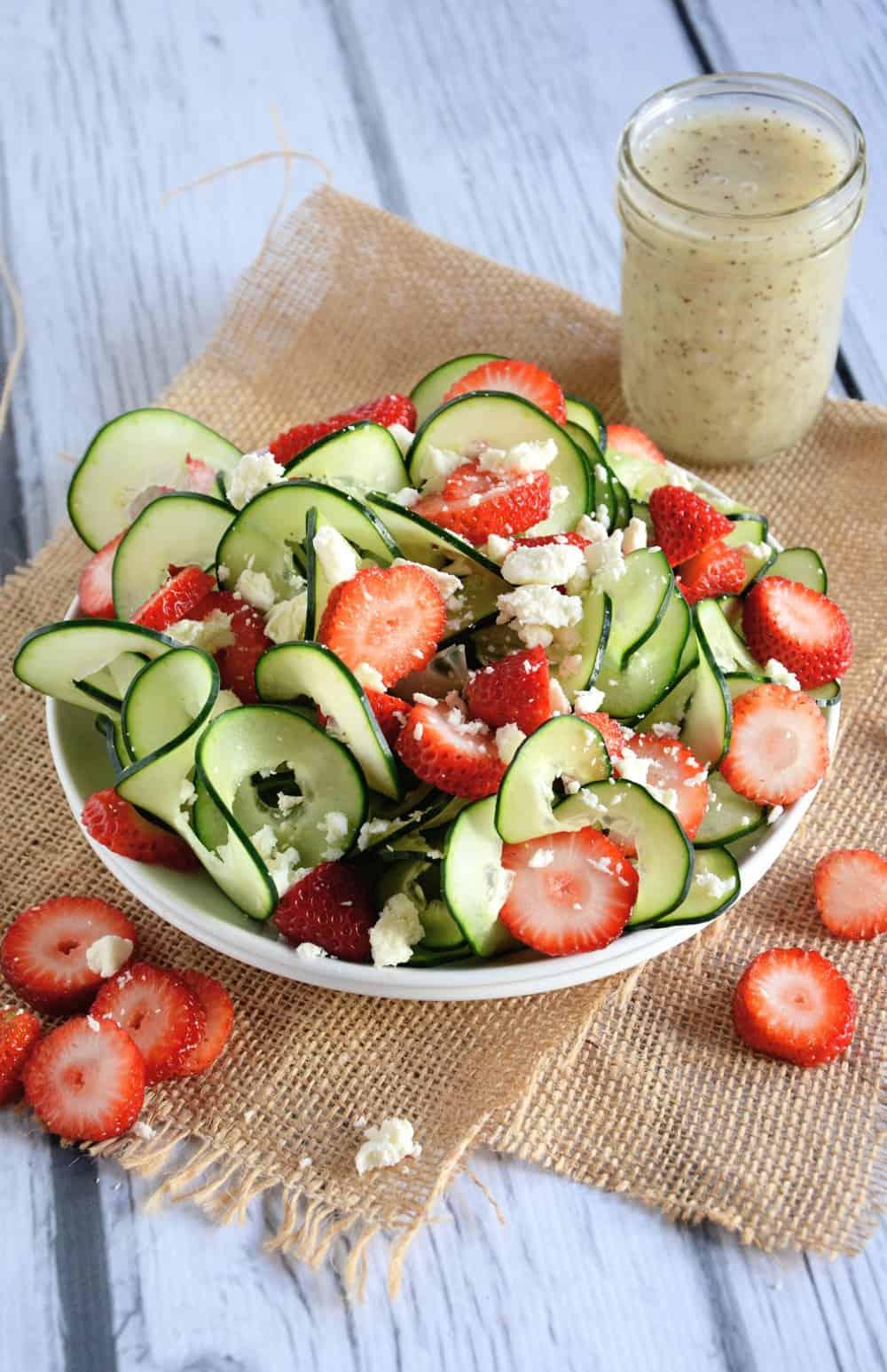 Cucumber and Strawberry Poppyseed Salad