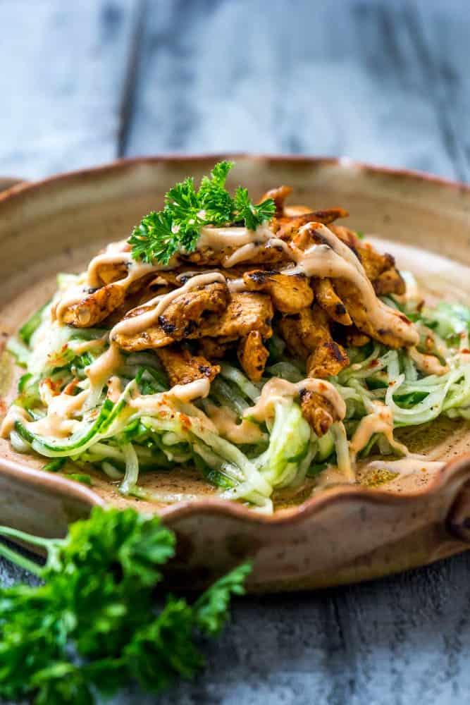 Cucumber Noodles Salad with BBQ Chicken
