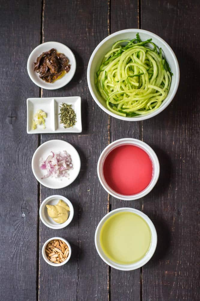 Cucumber Noodles with Sun-Dried Tomato Vinaigrette Ingredients