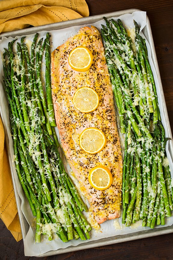 One Pan Roasred Lemon Pepper Salmon and Garlic Parmesan Asparagus