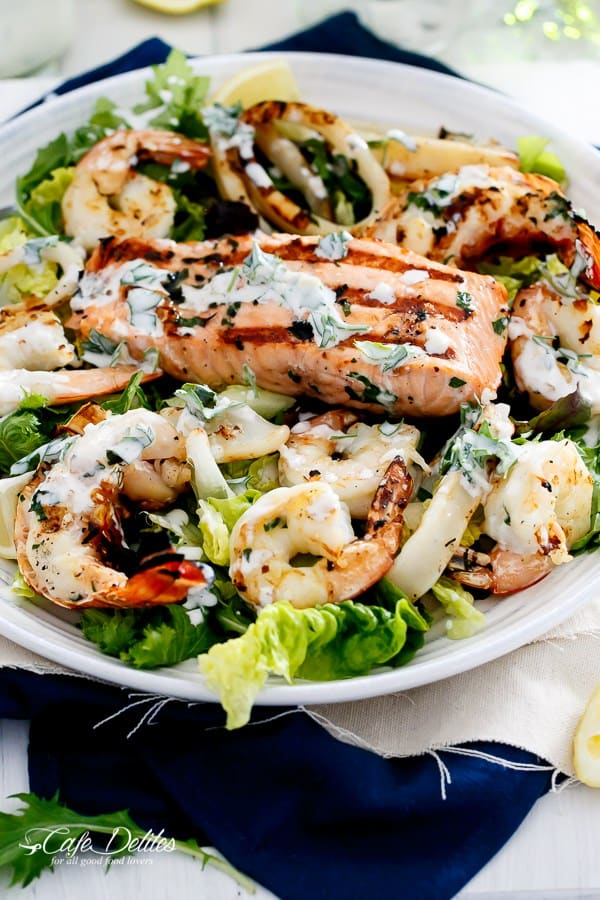 Barbecued Seafood Salad with Garlicky Yogurt Dressing