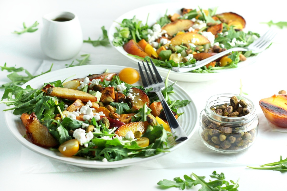 Grilled Peach and Sweet Potato Salad with Honey Balsamic Vinaigrette