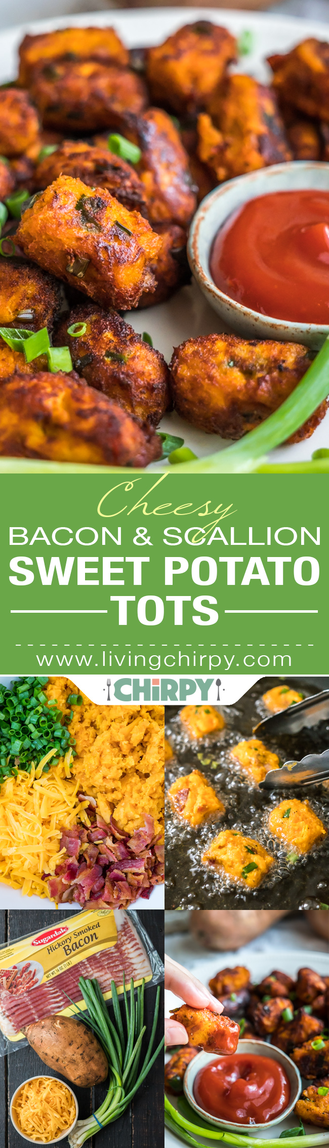 Cheesy Bacon & Scallion Sweet Potato Tots Pin
