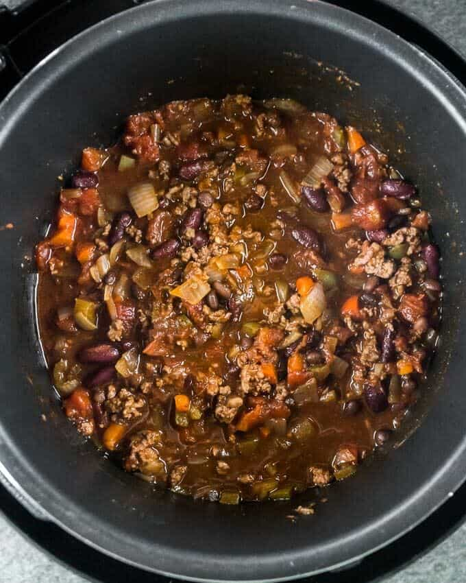 a top shot of the cooked and finished instant pot chili recipe.