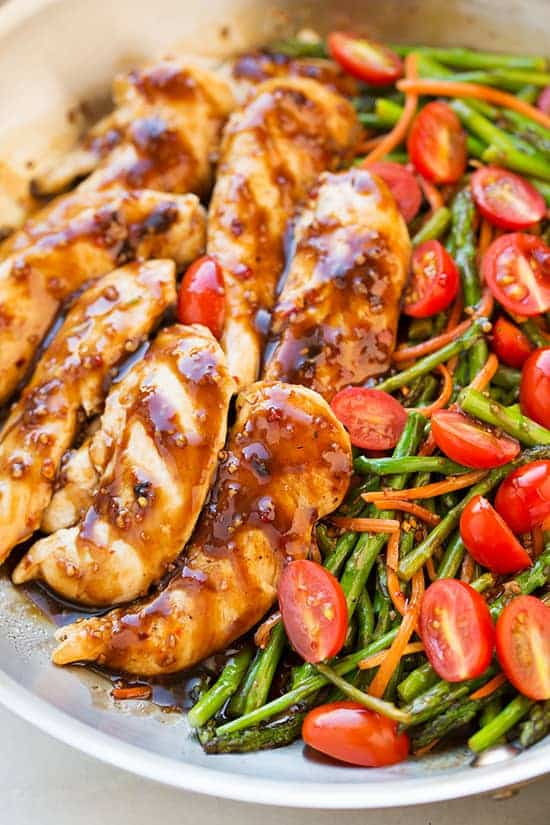 Close up of Balsamic Chicken and Veggies on a white plate