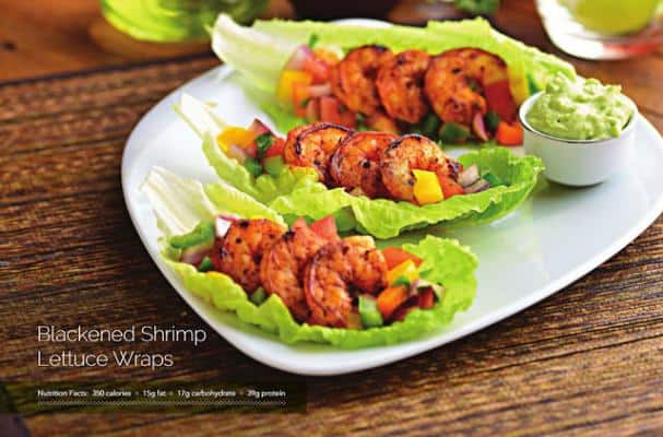Blackened Shrimp Lettuce Tacos with Salsa and Avocado Crema