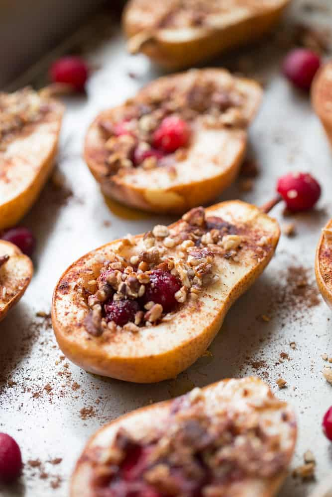 Baked Pears with Honey Cranberries and Pecans