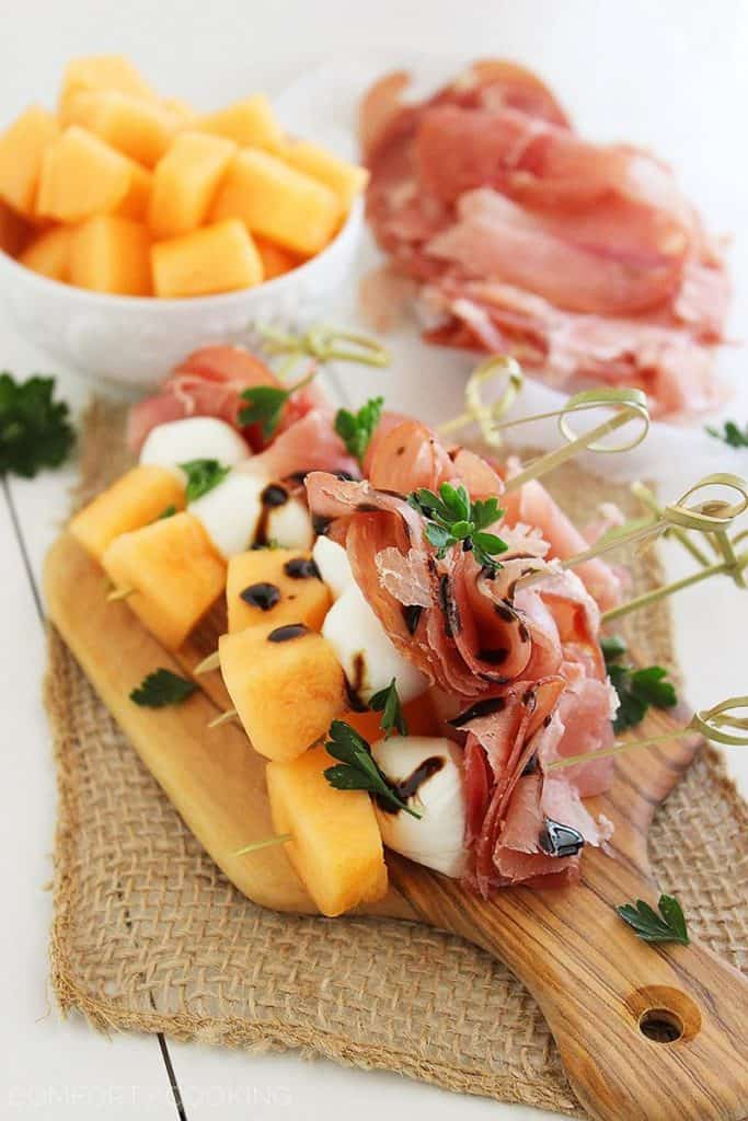 Melon Prosciutto and Mozzarella Skewers