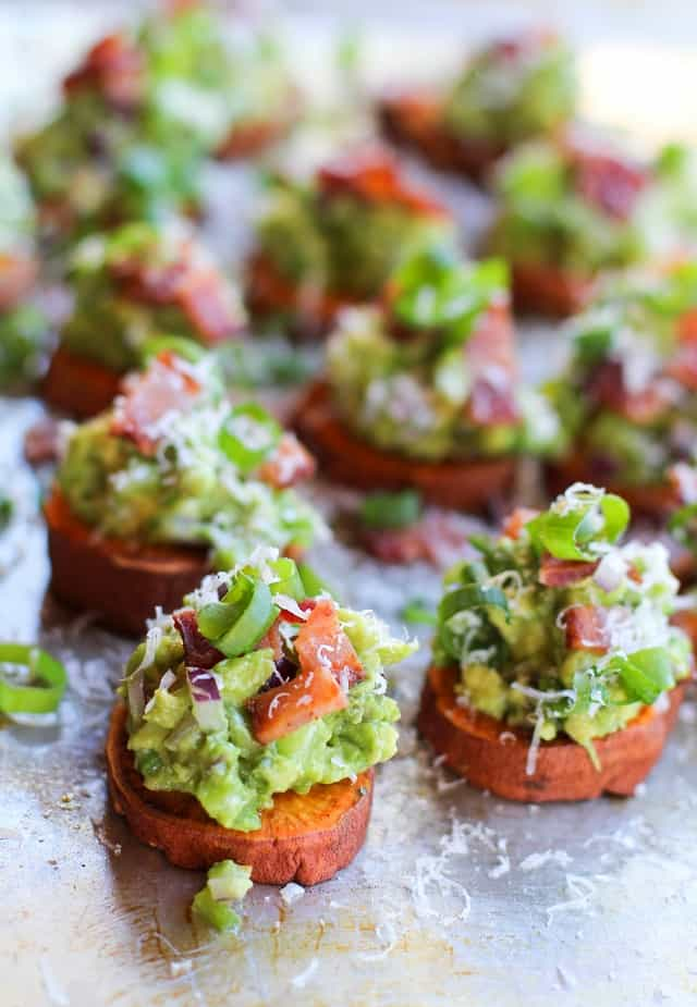 Roasted Sweet Potato Rounds with Guacamole and Bacon