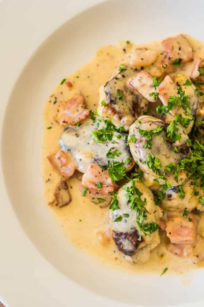 Cauliflower Gnocchi with Bacon Cream Sauce