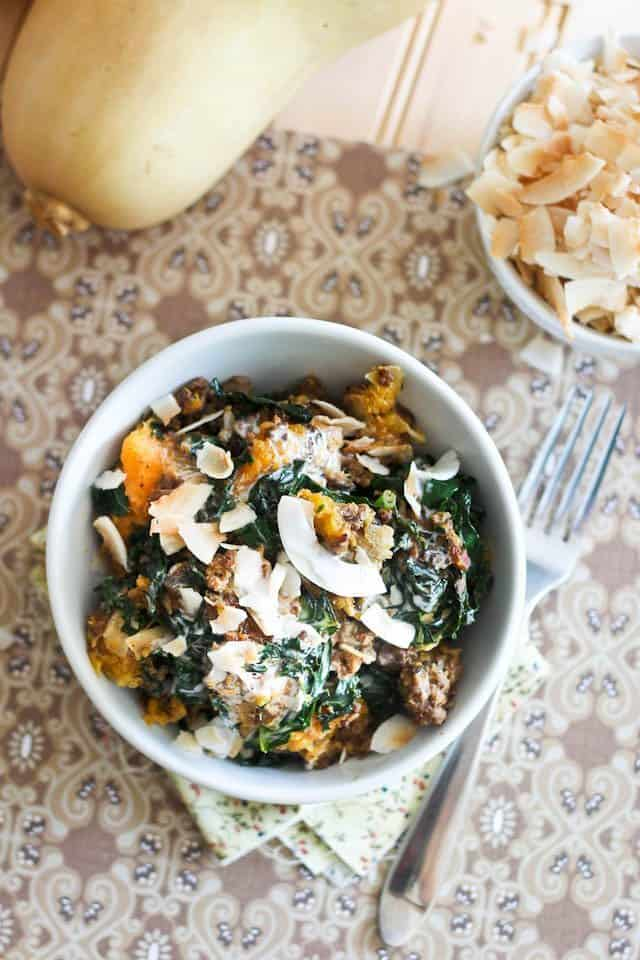Butternut Squash Kale and Ground Beef Breakfast Bowl