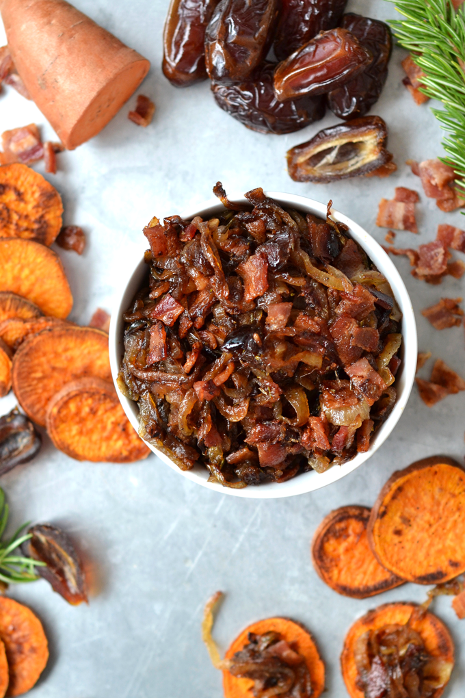 Caramelized Onion and Bacon Compote on Sweet Potato Crostini