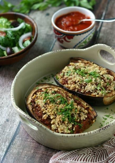 Ground Beef Stuffed Eggplant