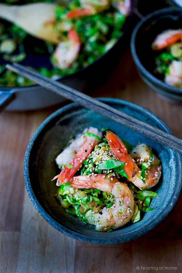 Furikake Brussels Sprouts and Shrimp