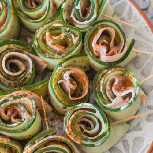 Ham mustard cucumber rolls
