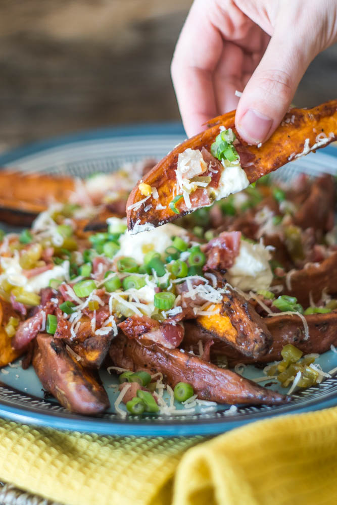 Loaded Baked Sweet Potato Wedges | Living Chirpy