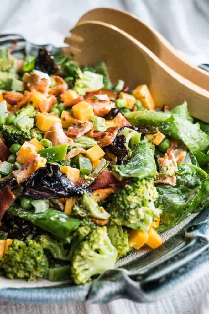 broccoli bacon cheddar salad with basil pesto mayo healthy low carb whole 30 paleo gluten free