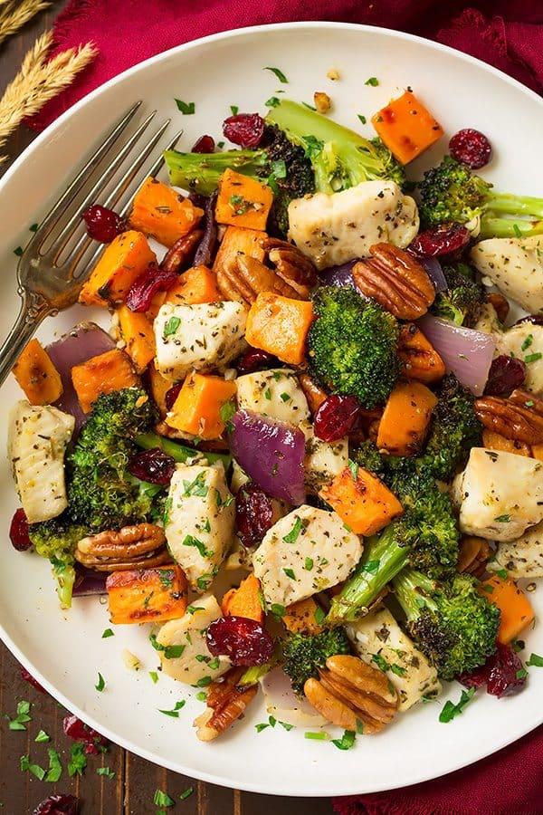 chicken broccoli sweet potato sheet pan dinner healthy low carb whole 30 paleo gluten free
