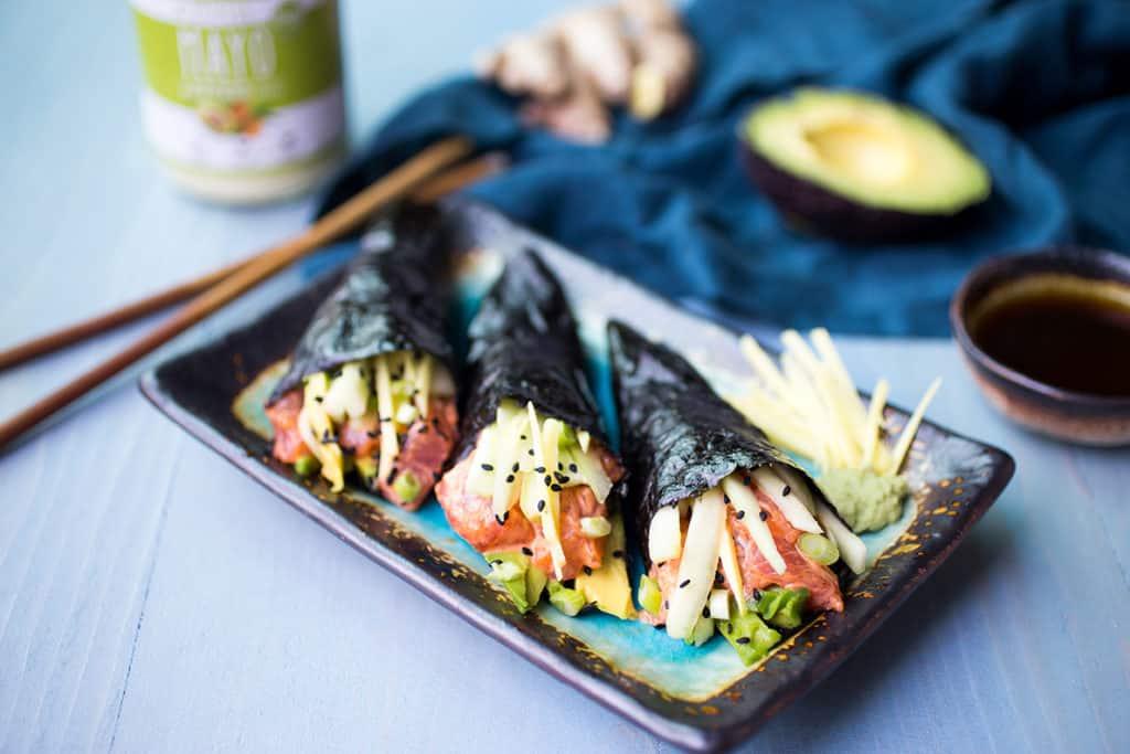 paleo no rice spicy tuna hand rolls healthy low carb whole 30 paleo gluten free