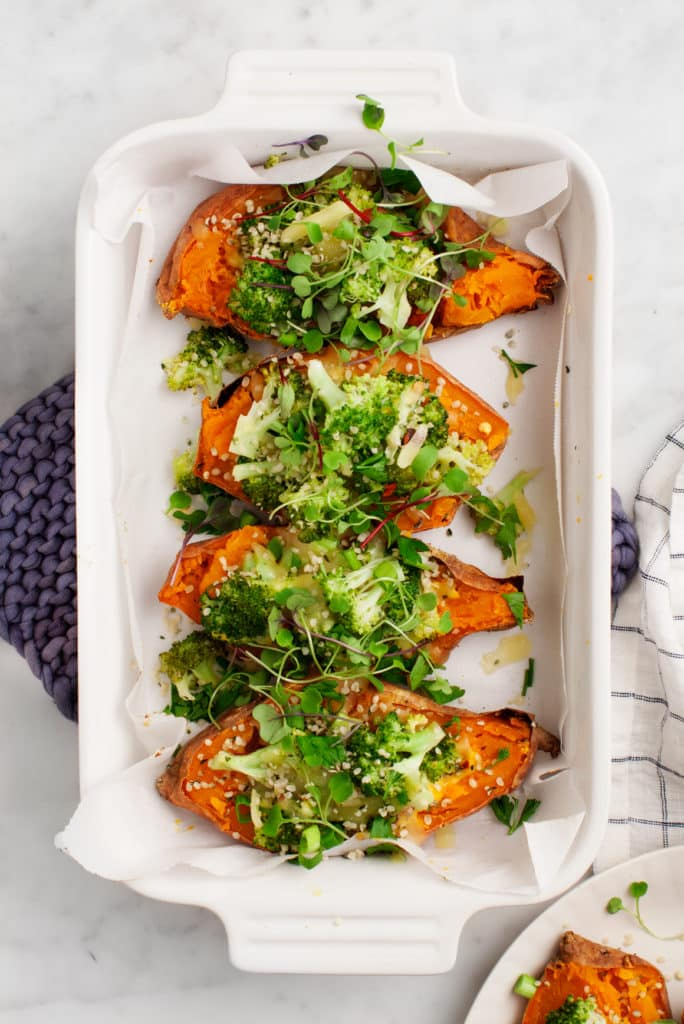 twice baked sweet potatoes with broccoli healthy low carb whole 30 paleo gluten free