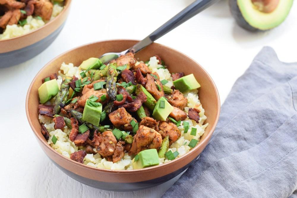 chicken and cauliflower rice bowls