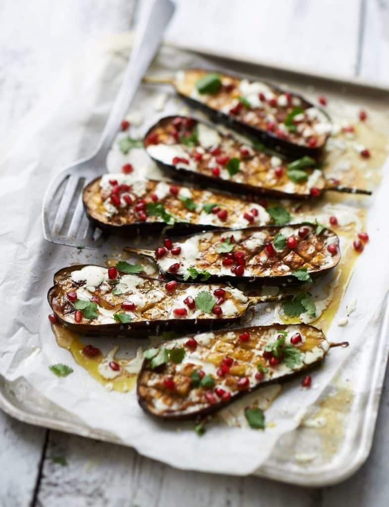 roasted eggplant with tahini and pomegranate