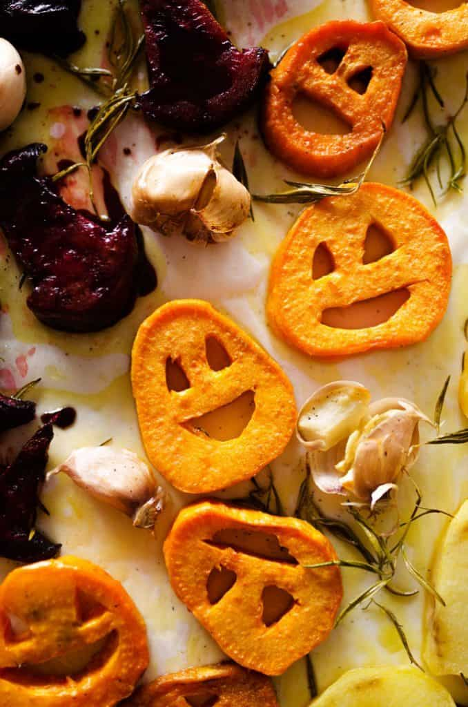 spooky roast vegetables