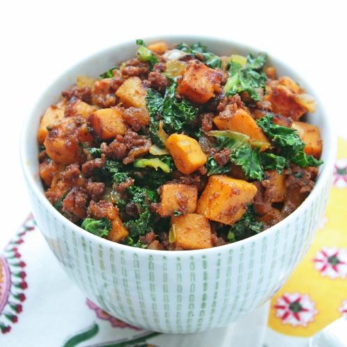 chorizo kale and sweet potato hash