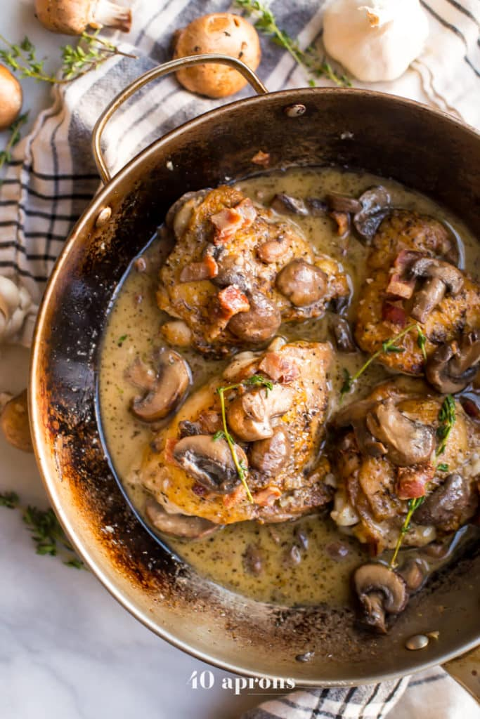 creamy bacon and mushroom chicken thighs