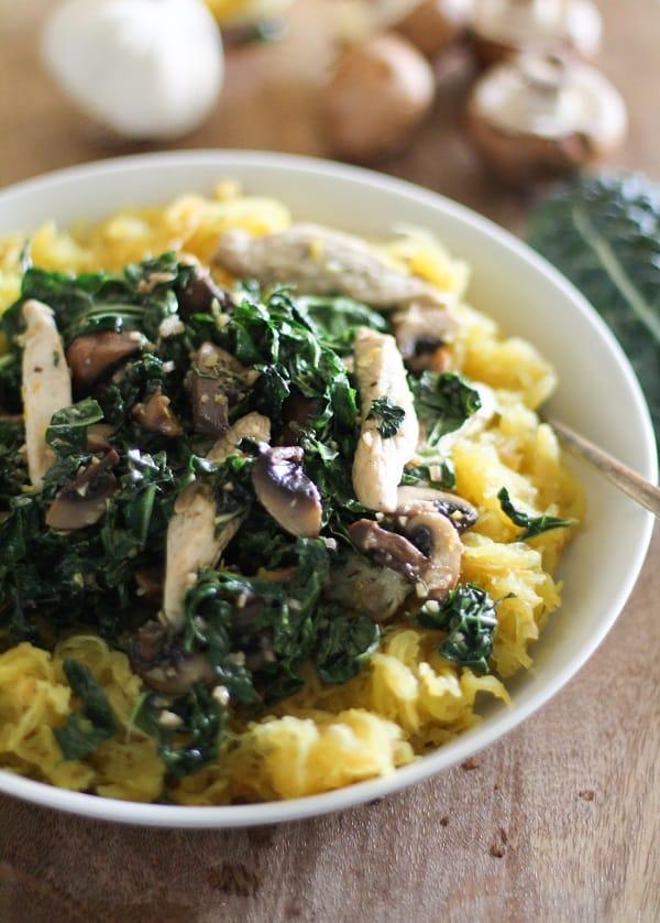 garlic spaghetti squash with chicken mushrooms and kale