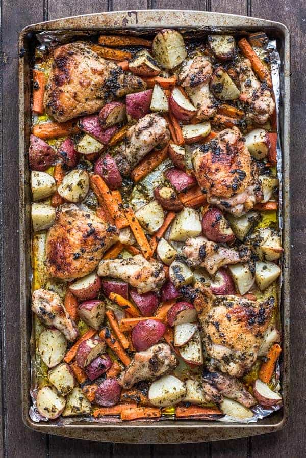 pesto chicken thighs and vegetables