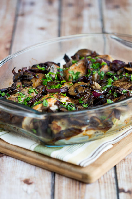 roasted chicken thighs with mushrooms onions and rosemary