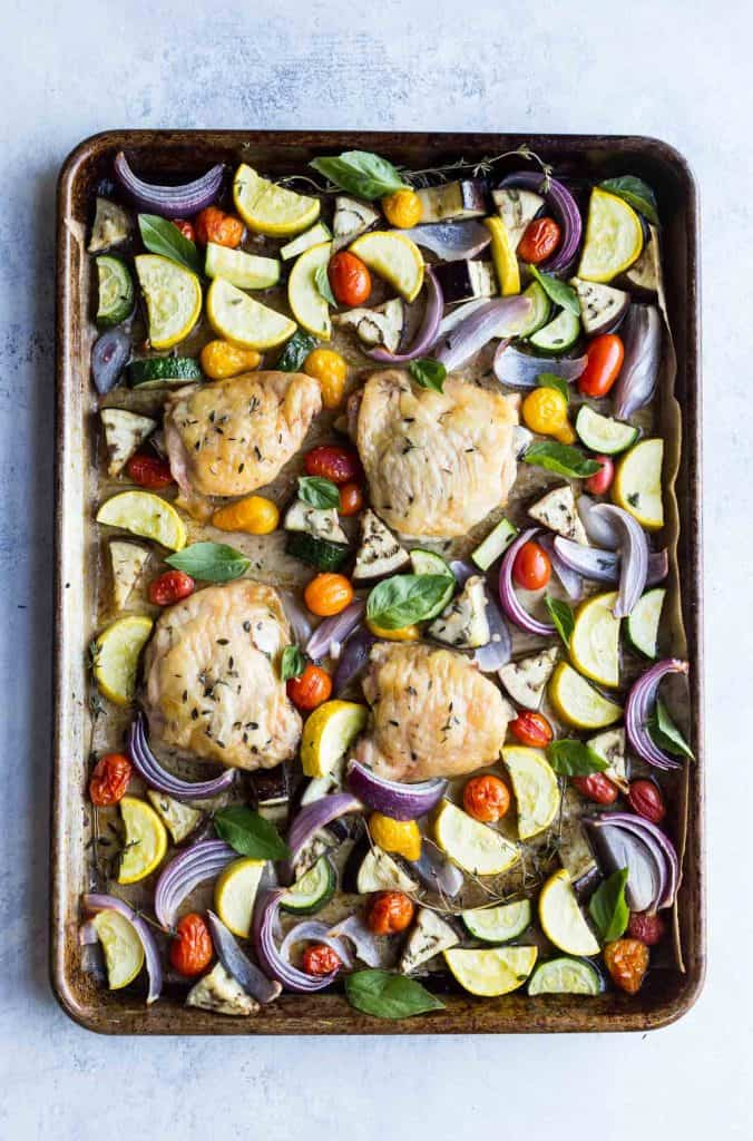 sheet pan chicken thighs with roasted ratatouille