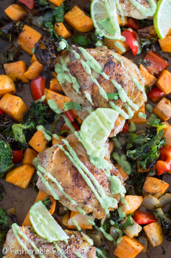 southwest chicken thighs with vegetables and avocado aioli