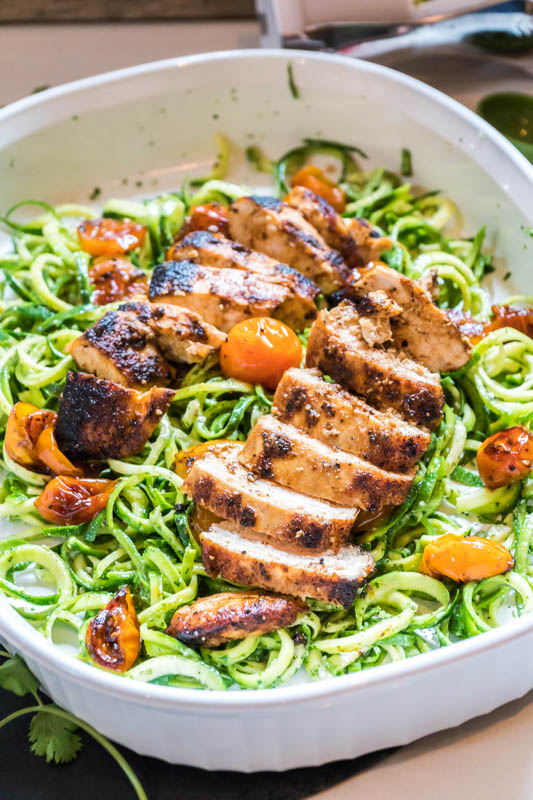 Cilantro Pesto Zoodles Seared Chicken Tomato