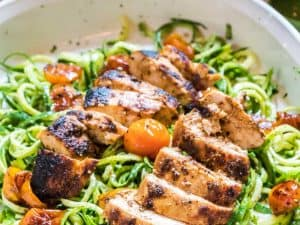 Cilantro Pesto Zoodles with Seared Chicken and Tomato