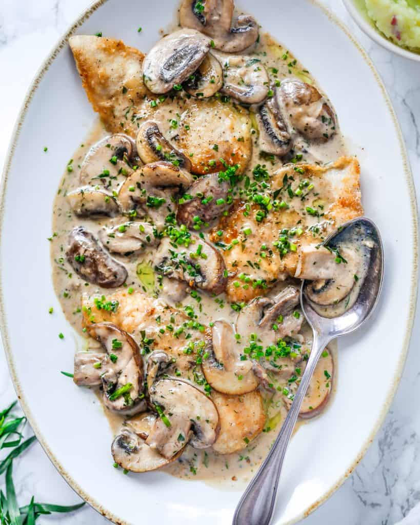 chicken with mushroom and tarragon cream sauce